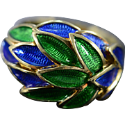 14K Vintage Blue Green Enamel Ring - Size 6.75 / Yellow Gold