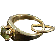 REDUCED 14K Vintage Miniature Green Stone Engagement Ring Charm/Pendant Yellow Gold