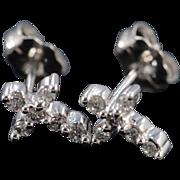 SALE 10K 0.12 CTW Diamond Cross Stud Earrings White Gold