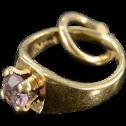 REDUCED 14K Vintage Miniature Purple Stone Engagement Ring Charm/Pendant Yellow Gold