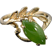 SALE 14K 0.60 CTW Cabochon Marquise Jade Leaf Ring - Size 4.75 / Yellow Gold