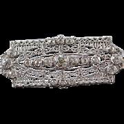 14K Antique 1.68 CTW Diamond Filigree Bar Pin/Brooch White Gold