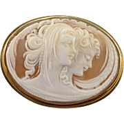 18K Carved Cameo Two Women Scene Pin/Brooch Yellow Gold
