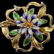 18K Blue & Green Enamel Flower Burst Pin/Brooch Yellow Gold