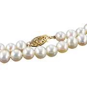 "SALE 14K 6-7mm Pearl Strand Necklace 18"" Yellow Gold"