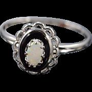 SALE 10K 8x6 Oval Onyx Opal Scallop Bezel Ring - Size 6.25 / White Gold