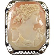 SALE 14K Carved Cameo Filigree Pendant/Pin White Gold