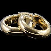 SALE 14K Hollow Hoop Earrings Yellow Gold