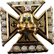 10K Skull & Bones Fraternity Diamond Emerald Seed Pearl Pendant Yellow Gold