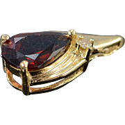 18K 1.26 CTW Garnet Diamond Tear Drop Charm/Pendant Yellow Gold