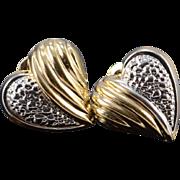 SALE 14K Two Tone Shell Heart Stud Earrings Yellow Gold