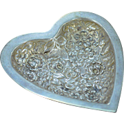 Sterling Silver Stieff Floral Heart Nut Dish Fine Silver