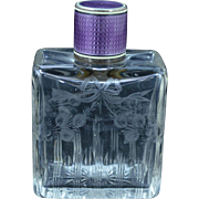 Sterling Silver Vintage Purple Enamel Etched Crystal Perfume Bottle Fine Silver