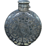 "Sterling Silver Vintage ""T"" Engraved Ornate Perfume Bottle Fine Silver"