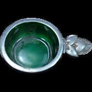 Sterling Silver Georg Jensen Acorn Salt Cellar Green Enamel Fine Silver