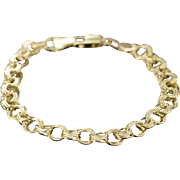 """14K Triple Link Charm Bracelet 8"""" Yellow Gold"""