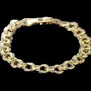 "SALE 14K Triple Link Charm Bracelet 8"" Yellow Gold"