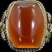 14K Carnelian Grape Motif Ring Size 3.5 Yellow Gold