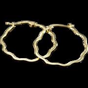 SALE 14K Wavy Hoop Earrings Yellow Gold