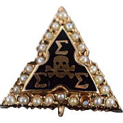SALE 10K Vintage Sigma Skull Triangle Seed Pearl Fraternal Pin/Brooch Yellow Gold