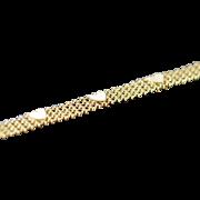 """14K Heart Strand Link Bracelet 7"""" Yellow Gold"""