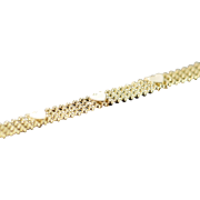"14K Heart Strand Link Bracelet 7"" Yellow Gold"