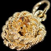 SALE 14K Rope Circle Citrine Charm/Pendant Yellow Gold