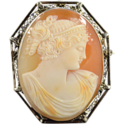 14K Victorian Filigree Carved Cameo Woman Pendant/Pin White Gold