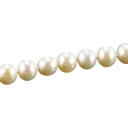 """14K 7mm Pearl Strand Necklace 18"""" Yellow Gold"""