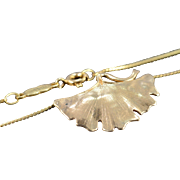 """SALE 14K Leaf Scallop Link Necklace 15"""" Yellow Gold"""
