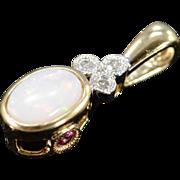 10K 0.29 CTW Oval Opal Diamond Pendant Yellow Gold