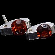 14K 1.50 CTW Pressure Set Red Garnet Earrings Yellow Gold