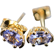 14K 0.40 CTW Tanzanite Stud Earrings Yellow Gold