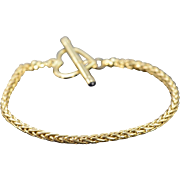 "14K Woven Link Heart Toggle Bracelet 7.5"" Yellow Gold"