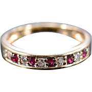SALE 14K 0.30 CTW Diamond Ruby Wedding Band Ring Size 6 Yellow Gold