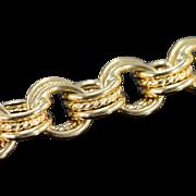 "14K Large Link Charm Bracelet 8.25"" Yellow Gold"