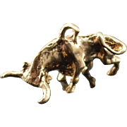 SALE 14K Vintage 3D Bull Charm/Pendant Yellow  Gold