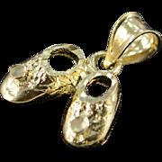 14K Petite Diamond Cut Baby Shoes Charm/Pendant Yellow Gold