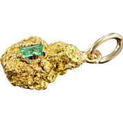 22K 0.15 CT Emerald Nugget Charm/Pendant Yellow Gold