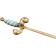 14K Antique Enamel, Mine Cut Diamond & Seed Pearl Sword Stick Pin Yellow Gold