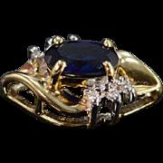 10K 0.51 CTW Sapphire Diamond Pendant Yellow Gold