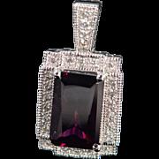 14K 3.20 CTW Rhodolite Garnet Diamond Halo Pendant White Gold