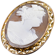 SALE 14K Victorian Carved Cameo Woman Pin/Brooch Yellow Gold