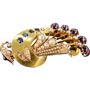 SALE 22K Victorian 3.50 CTW Rhodolite Garnet Sapphire Seed Pearl Pin/Brooch Yellow Gold