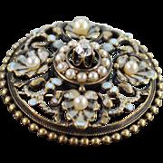 SALE 10K Victorian Diamond Seed Pearl Enamel - Stunning Pin/Brooch Yellow Gold