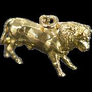 SALE 14K Heavy Detailed Bull Spanish Bullfighting Charm/Pendant Yellow Gold