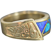 14K Inset Opal Native American Carving Ring Size 11.25 Yellow Gold