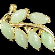 SALE 14K Jade Leaf Omega Back Earrings Yellow Gold