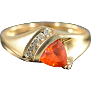 14K 0.78 CTW Mexican Fire Opal & Diamond Ring Size 7.25 Yellow Gold