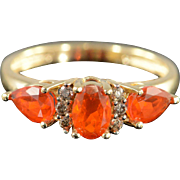 14K 1.30 CTW Mexican Fire Opal & Diamond Ring Size 7 Yellow Gold